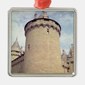 Beskåda av ett torn av chateauen julgransprydnad metall