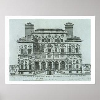 Beskåda av facaden av villan Borghese, Rome (engra Poster