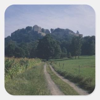 Beskåda av fästningen fyrkantigt klistermärke