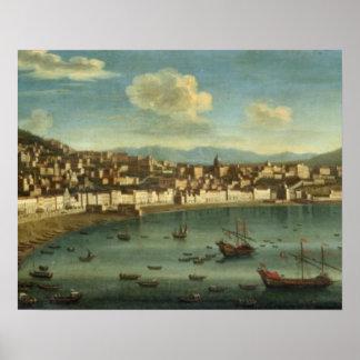 Beskåda av fjärden av Naples från fjärden av Chiai Poster