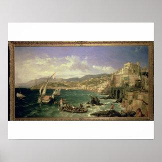 Beskåda av Genoa, 1854 (olja på kanfas) Poster