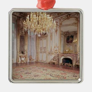Beskåda av insidan av den storslagna salongen silverfärgad fyrkantigt julgransprydnad