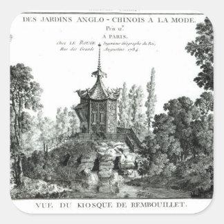 Beskåda av kiosken på Rembouillet, från 'Jardins Fyrkantigt Klistermärke
