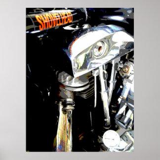 Beskåda av klassikern Shovelhead motoriska Harley Poster