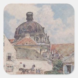 Beskåda av Klosterneuburg av Rudolf von Alt Fyrkantigt Klistermärke