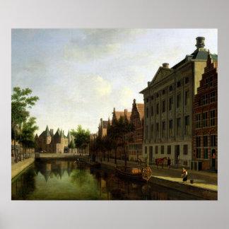 Beskåda av Kloveniersburgwalen i Amsterdam Poster