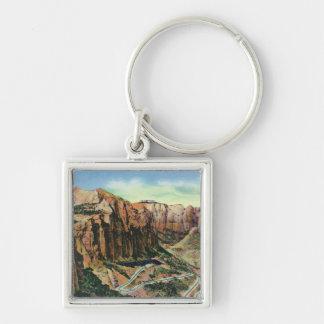 Beskåda av kopplabaksidaen, den Mount Carmel huvud Fyrkantig Silverfärgad Nyckelring
