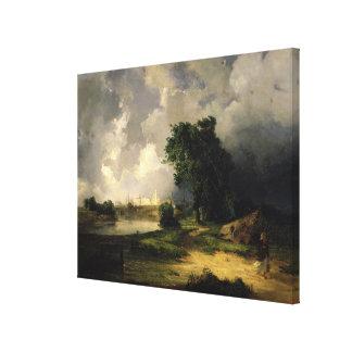 Beskåda av Kremlinen i dåligt väder, 1851 Canvastryck