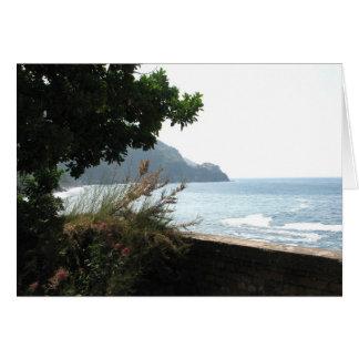 Beskåda av Manarola, italien från via dell'Amore Hälsningskort
