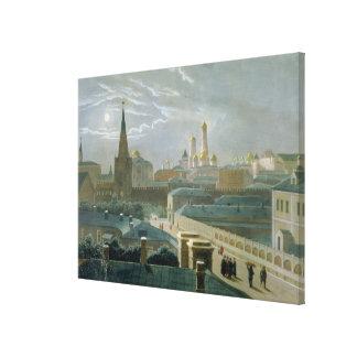 Beskåda av Moscowen Kremlin, 1840's Canvastryck