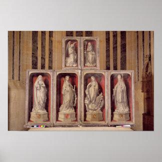 Beskåda av panelerna av den stängda altarpiecen poster