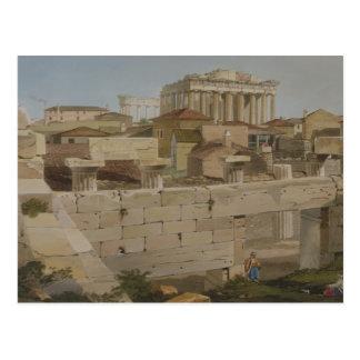Beskåda av parthenonen från Propylaeaen, plätera 7 Vykort