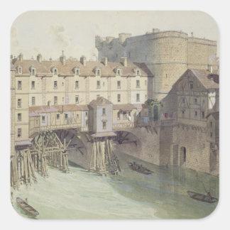 Beskåda av Petit Chatelet och den Petit Ponten Fyrkantigt Klistermärke