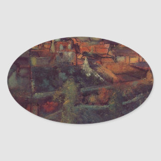 Beskåda av Sanktt-Valery-sur-Somme av Edgar Degas Ovalt Klistermärke