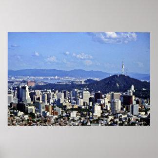 Beskåda av Seoul från Ansan Poster