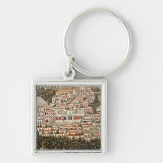 Beskåda av staden av Damascus Fyrkantig Silverfärgad Nyckelring