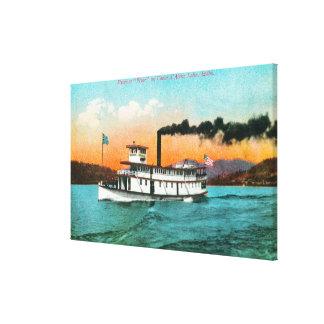 Beskåda av Steamerreklambladet på sjön Canvastryck