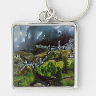 """""""Beskåda av Toledo Fyrkantig Silverfärgad Nyckelring"""