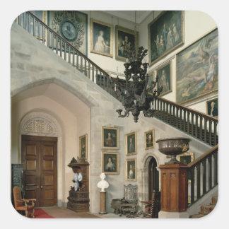 Beskåda av trappuppgången Hall, 1812-15 Fyrkantigt Klistermärke