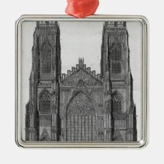 Beskåda av väster beklär av den York domkyrkan Julgransprydnad Metall