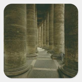 Beskåda insida colonnaden fyrkantigt klistermärke