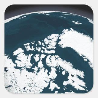 Beskåda över Grönland och det arktiska hav Fyrkantigt Klistermärke