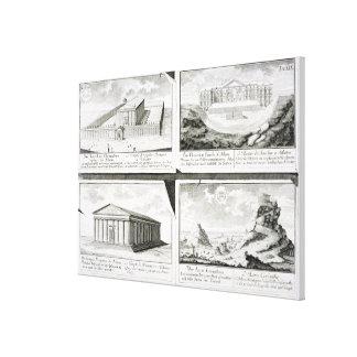 Beskådar av fyra klassiska byggnader: Tempelet av  Canvastryck
