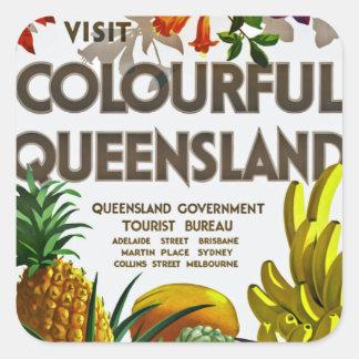 Besök färgglada Queensland Fyrkantigt Klistermärke