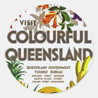 Besök färgglada Queensland Runt Klistermärke