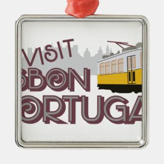 Besök Lisbon Portugal Julgransprydnad Metall