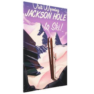 Besök Wyoming! Jackson Hole som skidar, reser Canvastryck