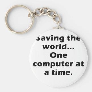 Besparing datoren för värld en i sänder rund nyckelring