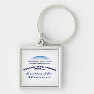 Besparing mitt giftermål fyrkantig silverfärgad nyckelring