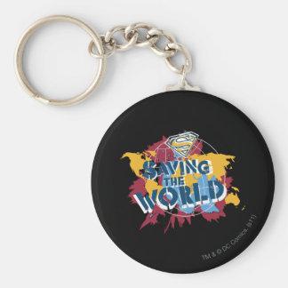 Besparing som världen med målar rund nyckelring