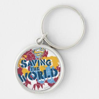 Besparing som världen med målar rund silverfärgad nyckelring