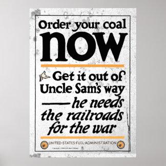 Beställa ditt kol nu 1917 poster