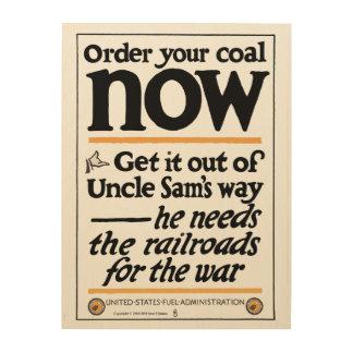 Beställa ditt kol nu 1917 trätavla