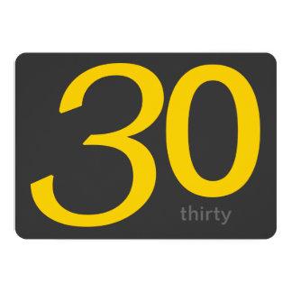 Beställnings- 30års födelsedaginbjudan för kol och 12,7 x 17,8 cm inbjudningskort