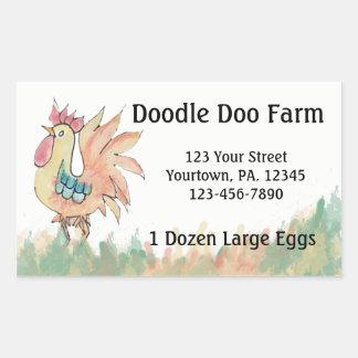 Beställnings- äggklistermärke för tupp rektangulärt klistermärke
