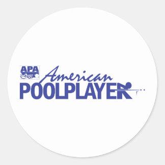 Beställnings- amerikanbassängspelare - blått runt klistermärke