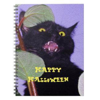 Beställnings- arg och grumpy Halloween svart katt Anteckningsbok Med Spiral