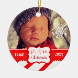 Beställnings- baby första julprydnad rund julgransprydnad i keramik