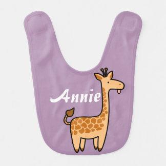 Beställnings- babyhaklapp för giraff hakklapp