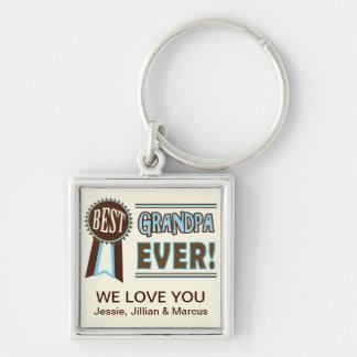 Beställnings- bäst för morfar fars dag Keychain Fyrkantig Silverfärgad Nyckelring