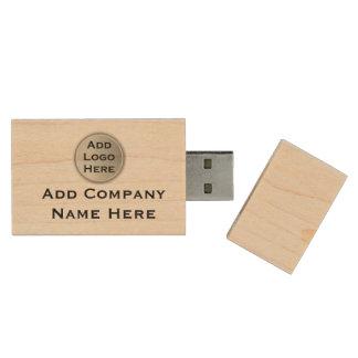 Beställnings- befordrings- affärslogotyp trä USB-minne