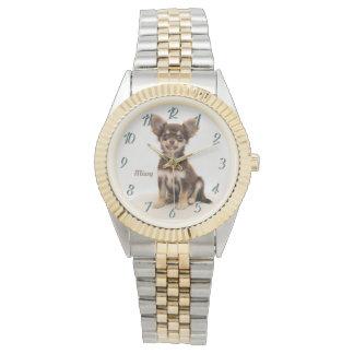 Beställnings- Chihuahuaklocka (tillfoga ett namn), Armbandsur
