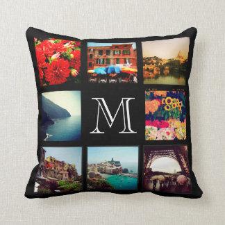Beställnings- Collage för MonogramInstagram foto Kuddar