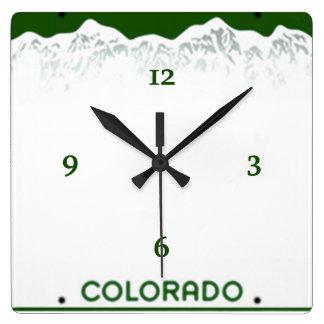 Beställnings- Colorado registreringsskylt Fyrkantig Klocka