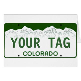 Beställnings- Colorado registreringsskylt Hälsningskort