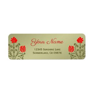 Beställnings- etikett för elegant röd etsning för returadress etikett